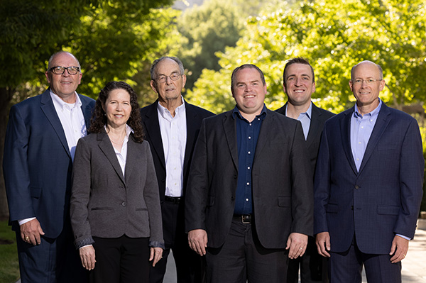 Brigham Young University actuarial faculty include (left to right) Scott Grimshaw, department chair; Allie Tomlinson, assistant actuarial program coordinator; Dennis Tolley, faculty; Robert Richardson, faculty; Brian Hartman, actuarial program coordinator; and Mark Brown, actuarial advisory board chair.